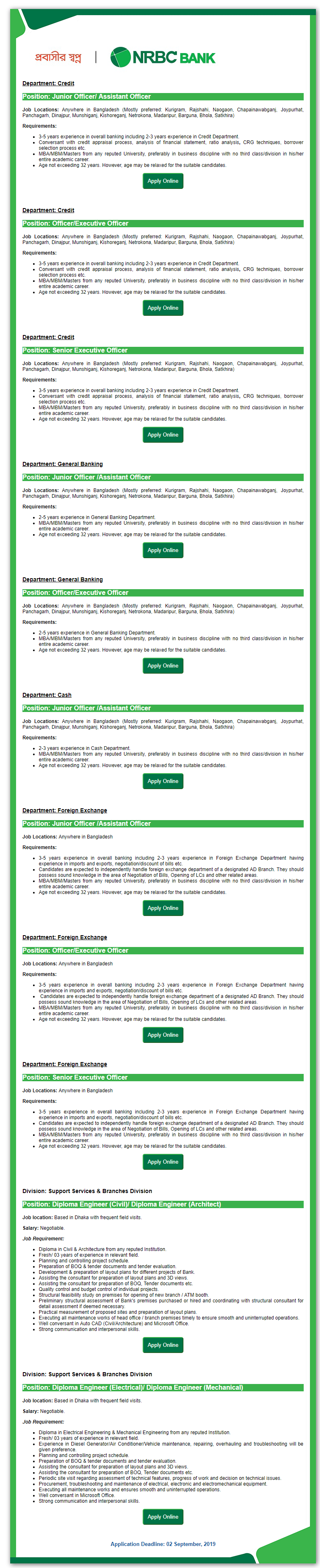 NRB commercial Bank Job Circular 2019